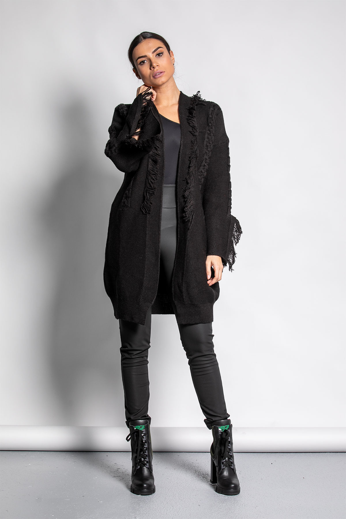 BLACK CABLE KNIT FRAYED CARDIGAN