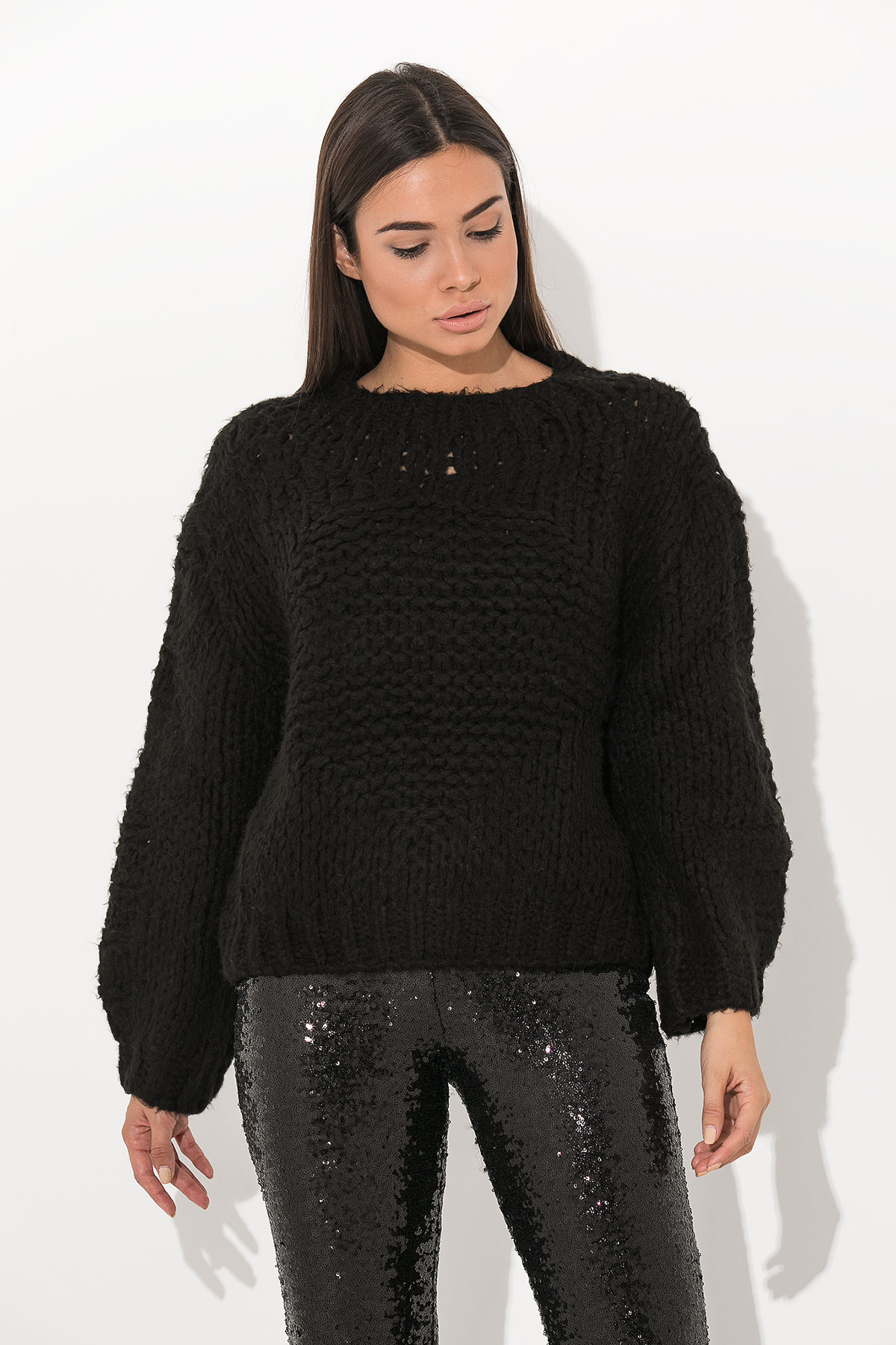 BLACK CHUNKY KNITTED BLOUSE