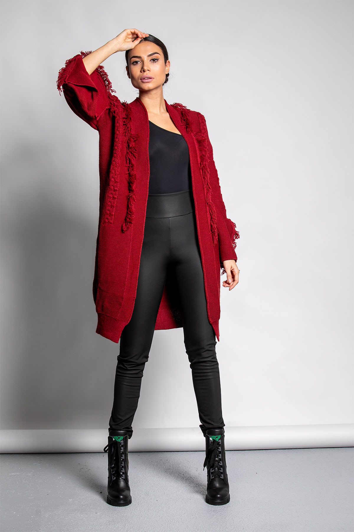 BORDEAUX CABLE KNIT FRAYED CARDIGAN