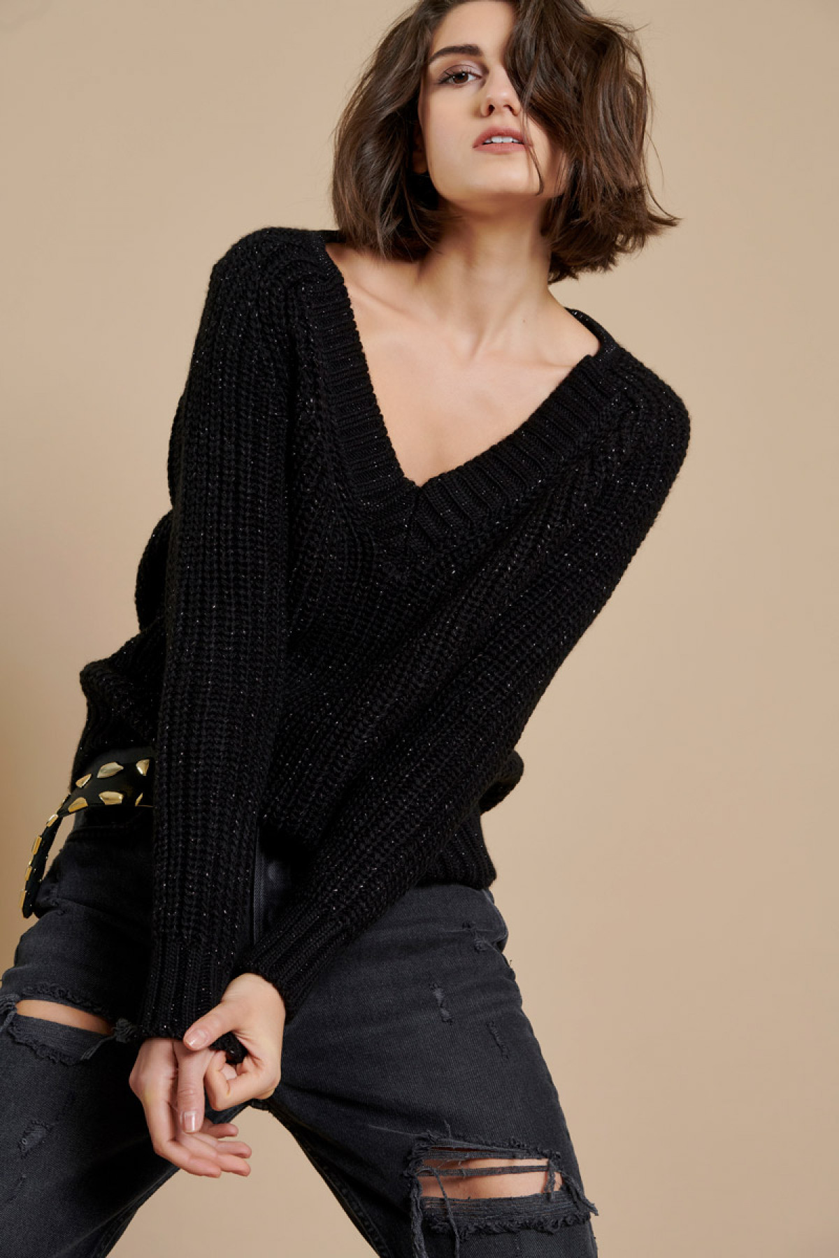 CHUNKY SWEATER WITH LUREX DETAILING BLACK