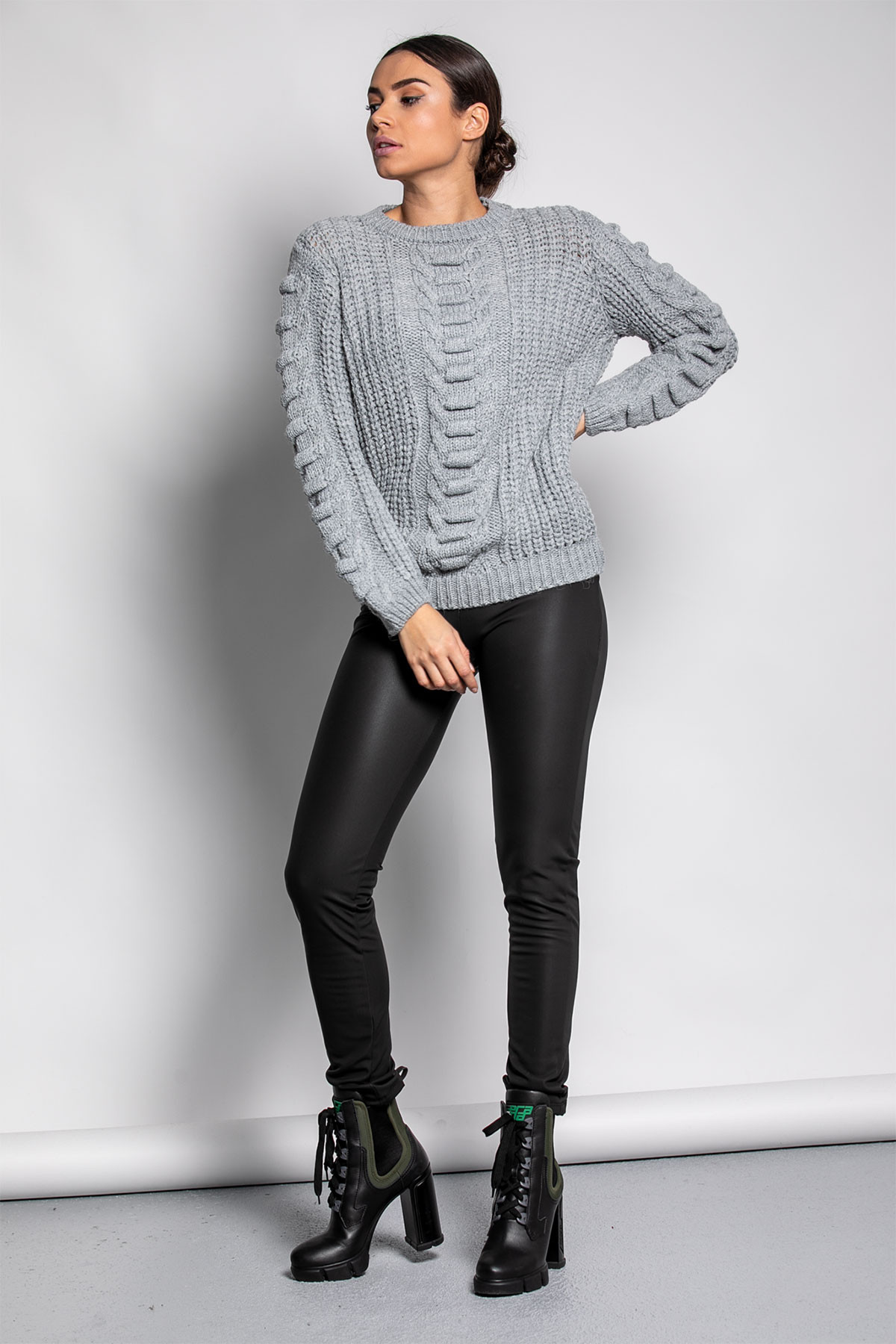 GRAY SOFT KNITTED BLOUSE