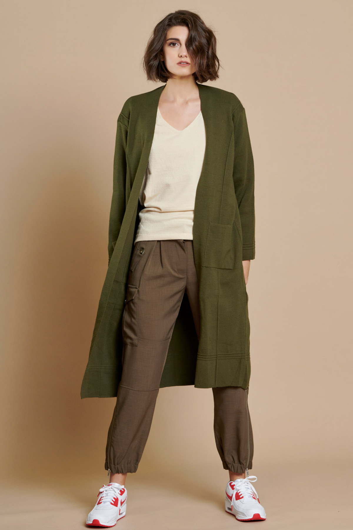 LONG KNIT CARDIGAN OLIVE GREEN