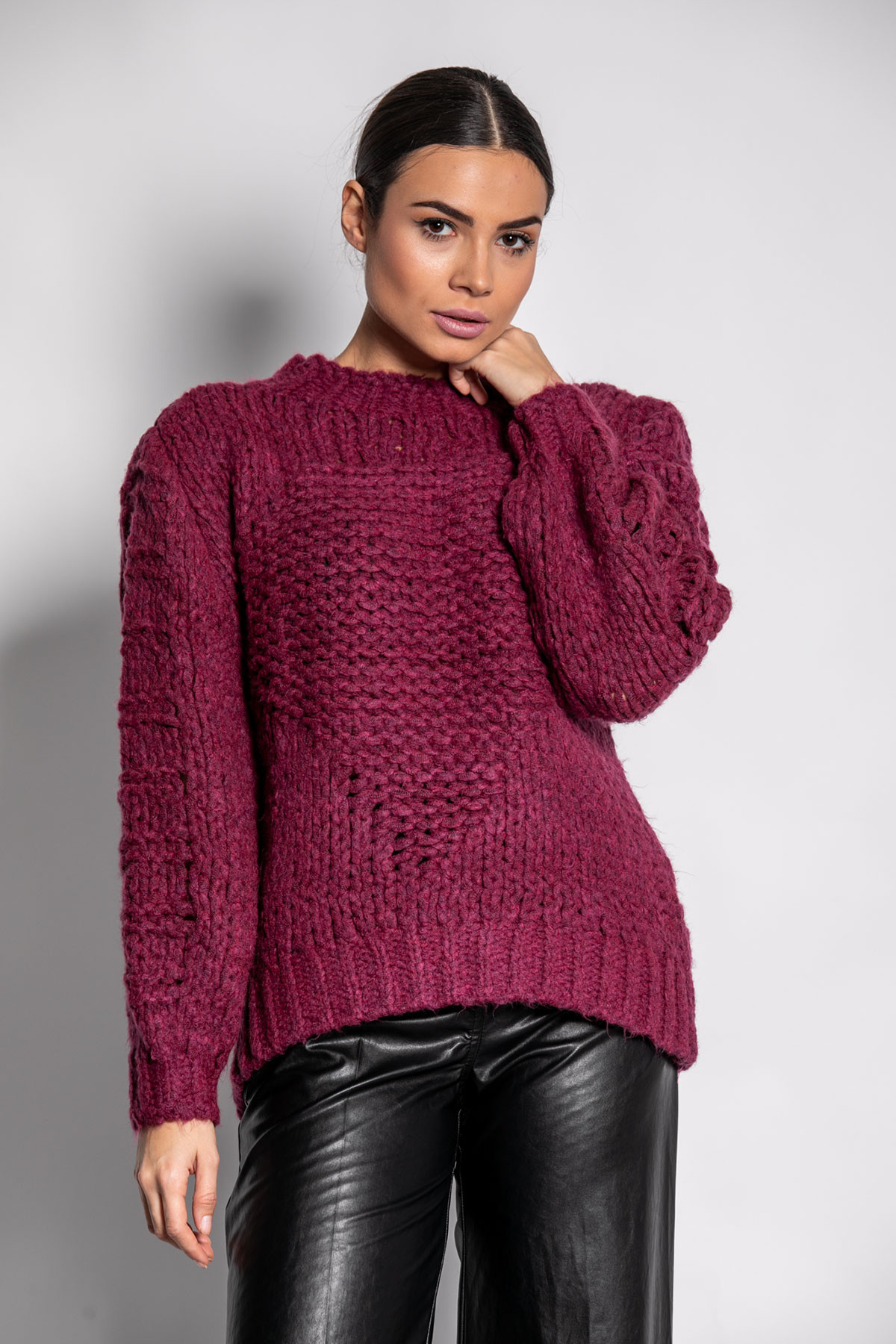 MAGENTA CHUNKY KNITTED BLOUSE