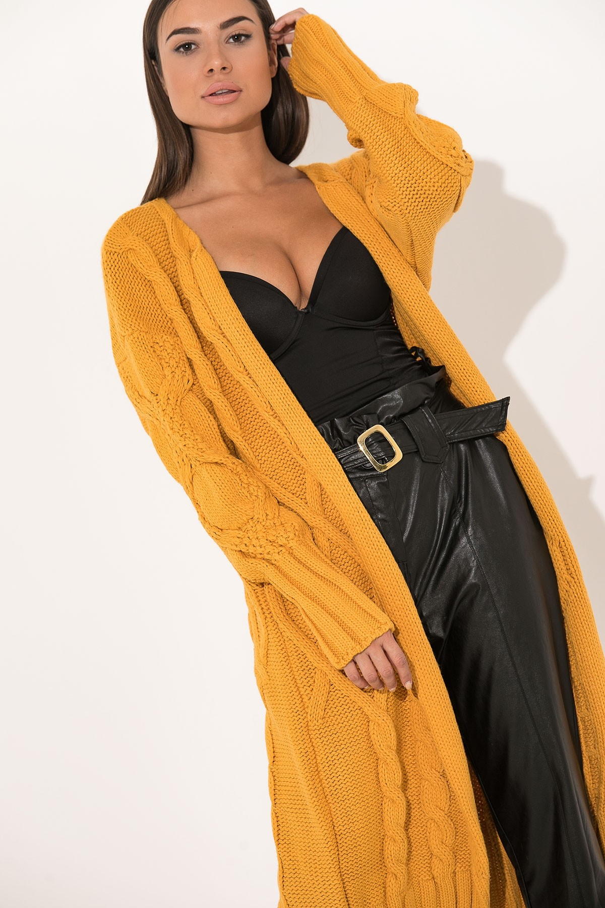 OCHER LONG CABLE KNIT CARDIGAN