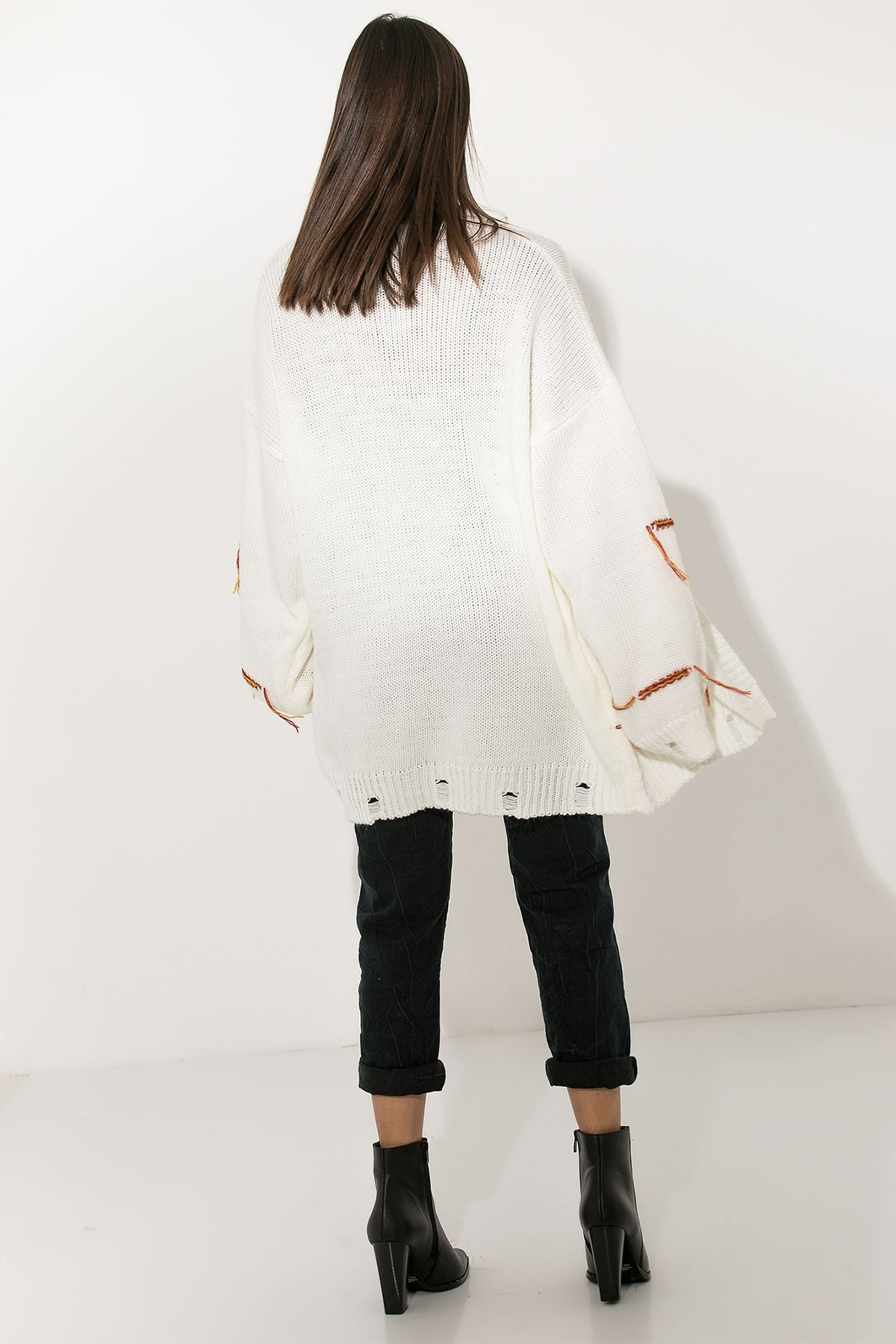 OFF WHITE OVERSIZED KNIT CARDIGAN