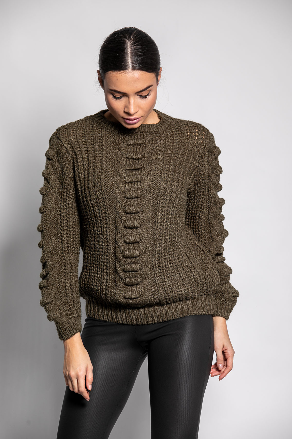 OLIVE GREEN SOFT KNITTED BLOUSE