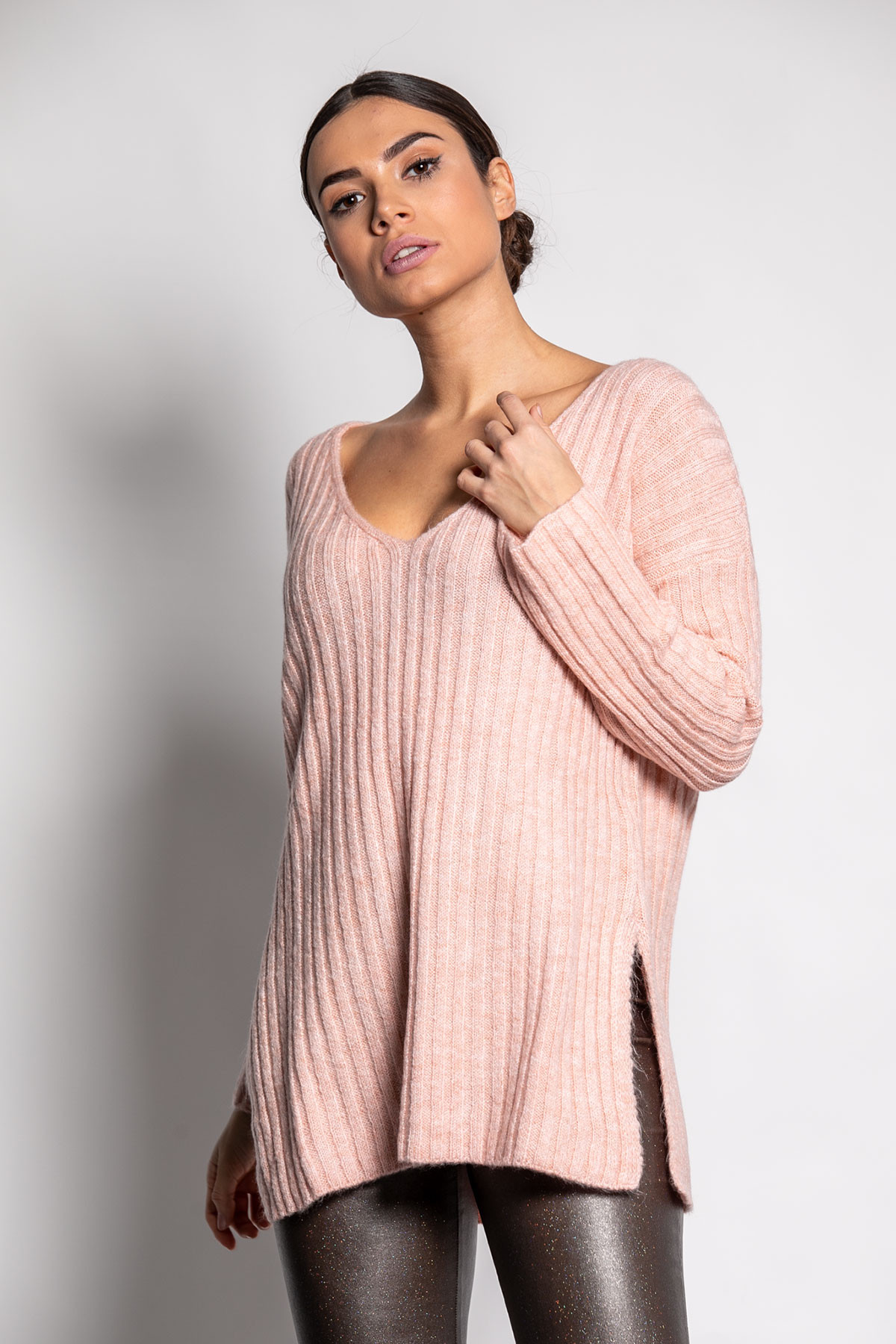 PINK WIDE RIBBED KNIT BLOUSE