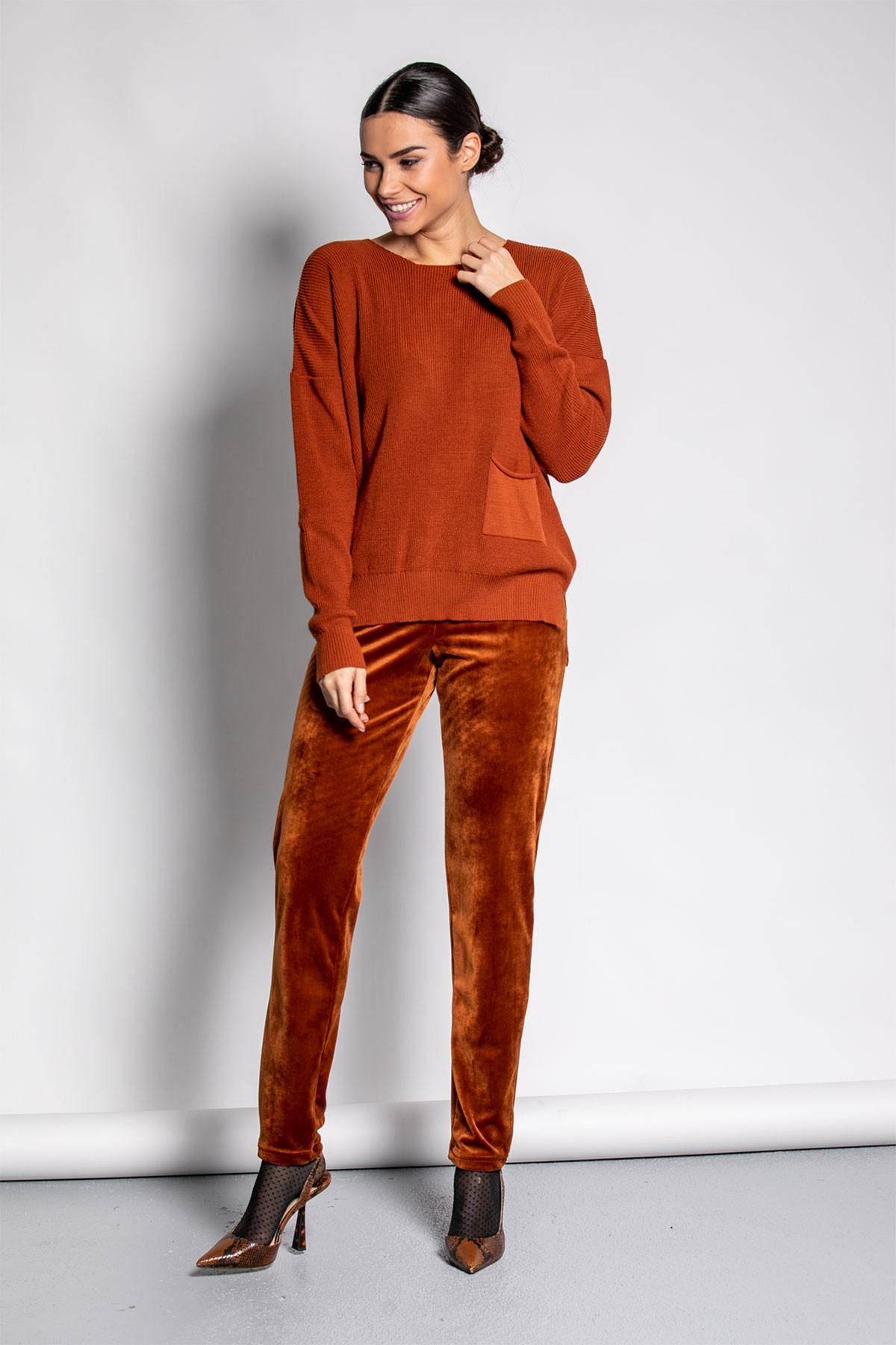 TERRACOTTA BASIC KNIT TOP WITH POCKET