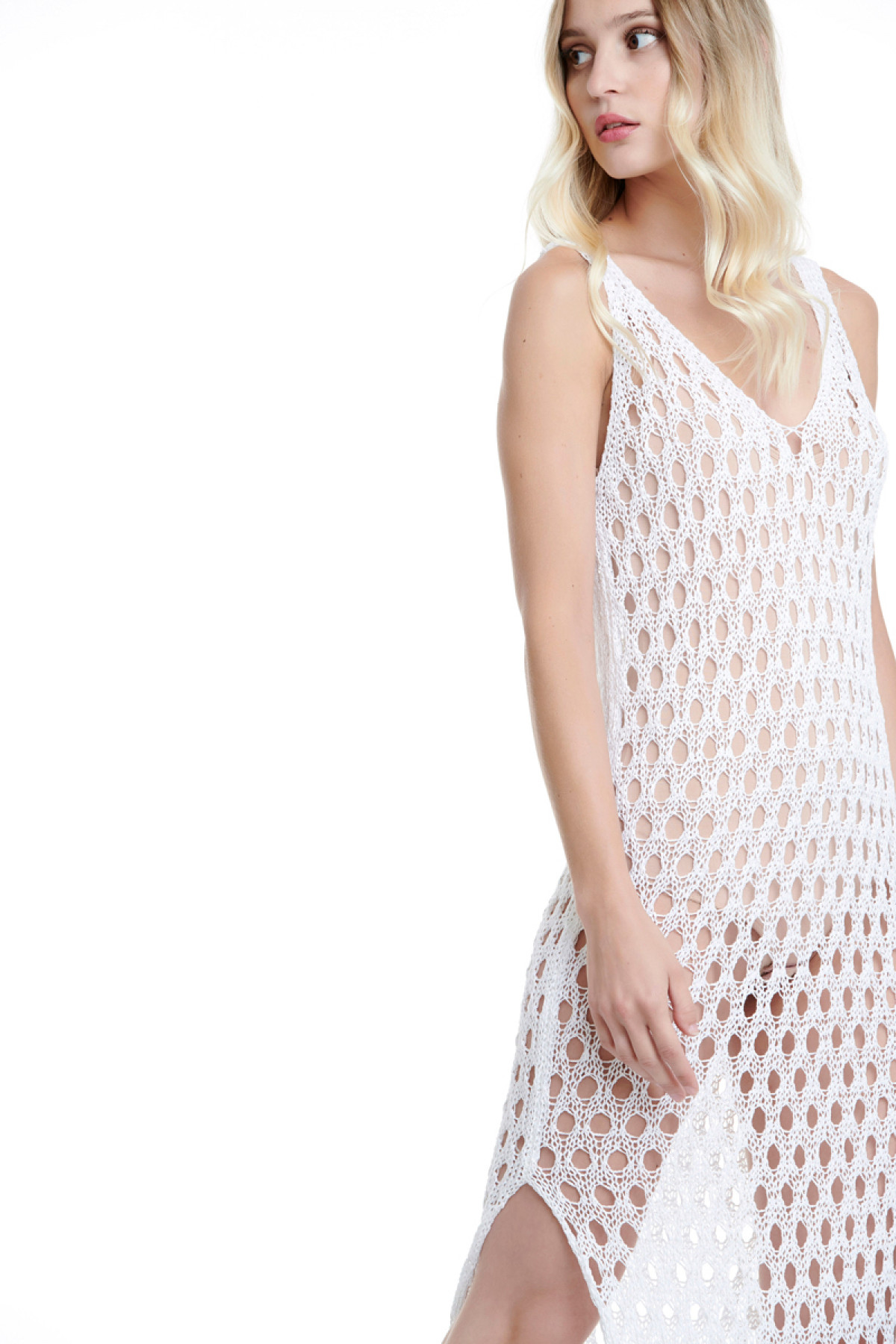 WHITE LONG CROCHET BEACH DRESS