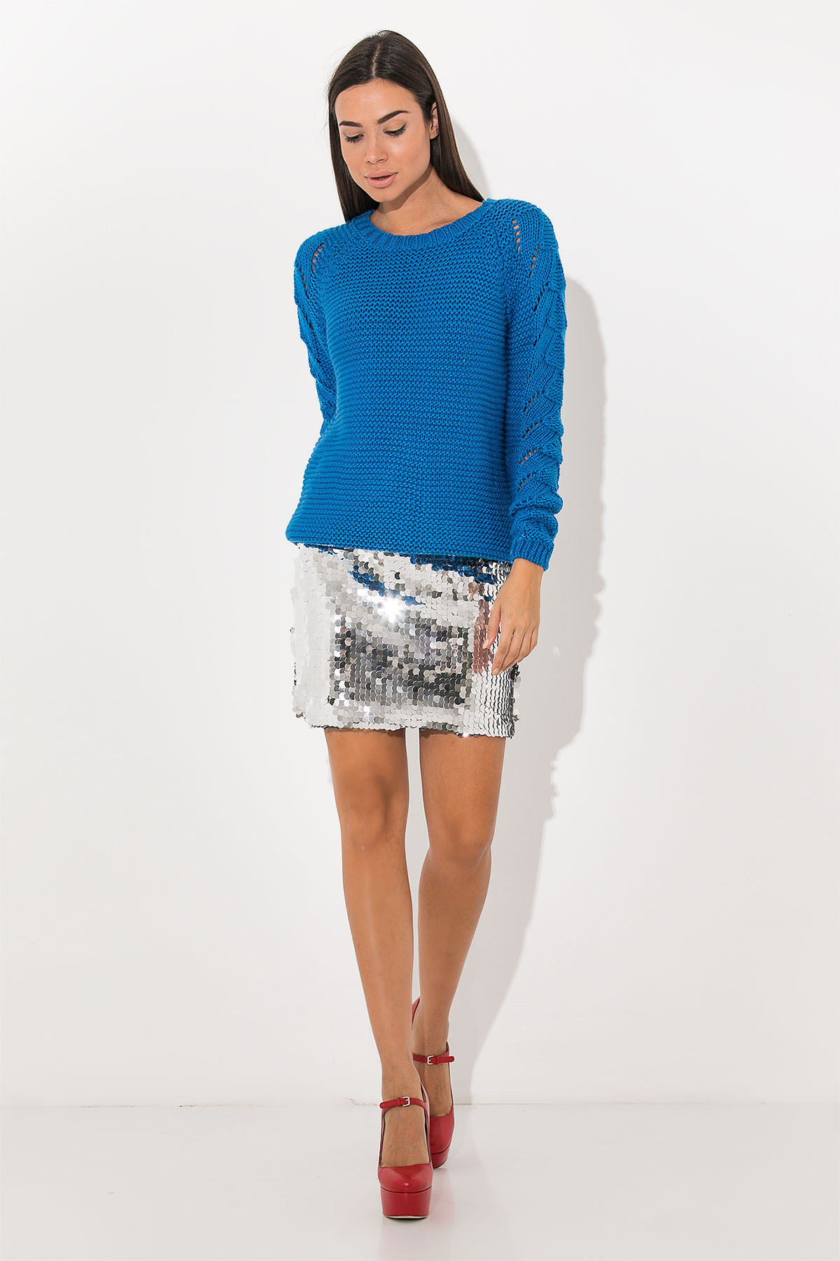 BLUE ROUND NECK KNITTED BLOUSE