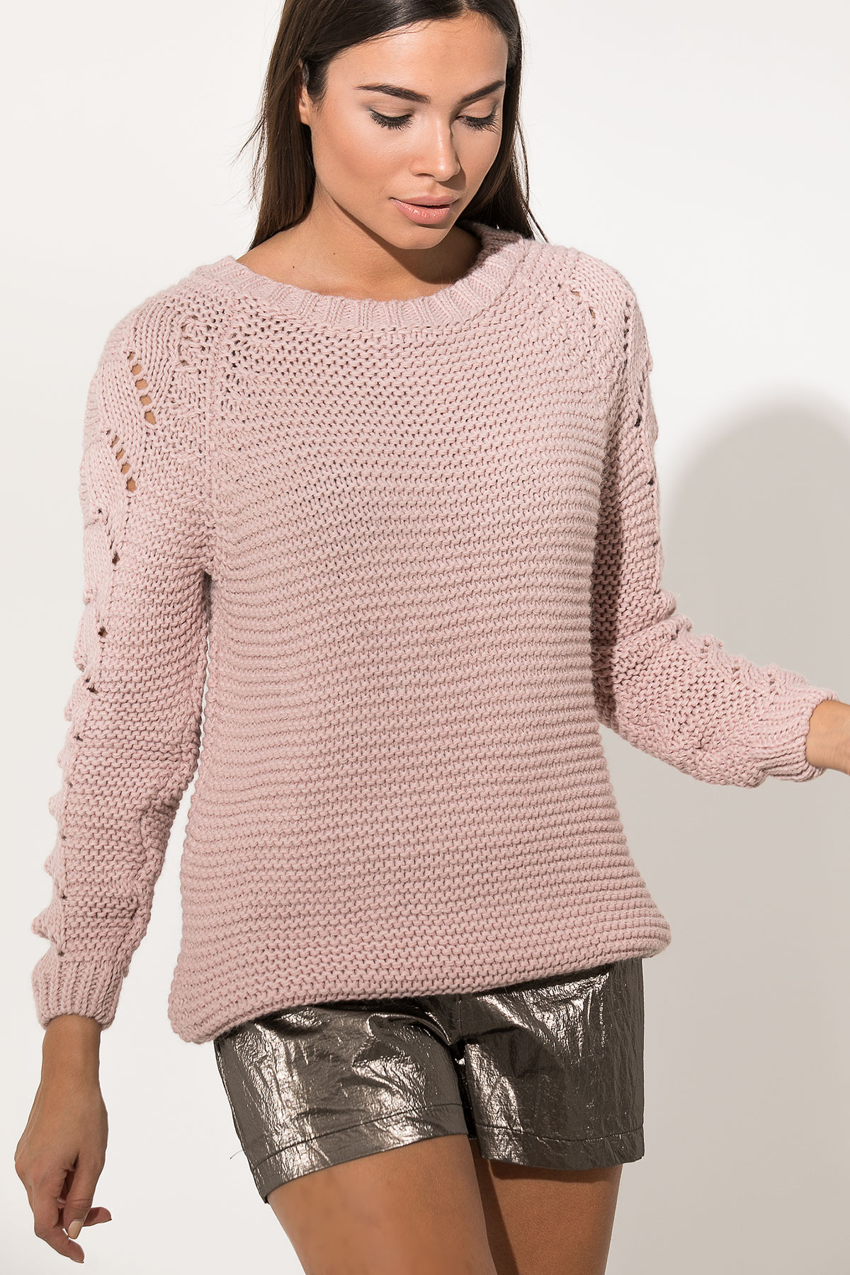 PINK ROUND NECK KNITTED BLOUSE