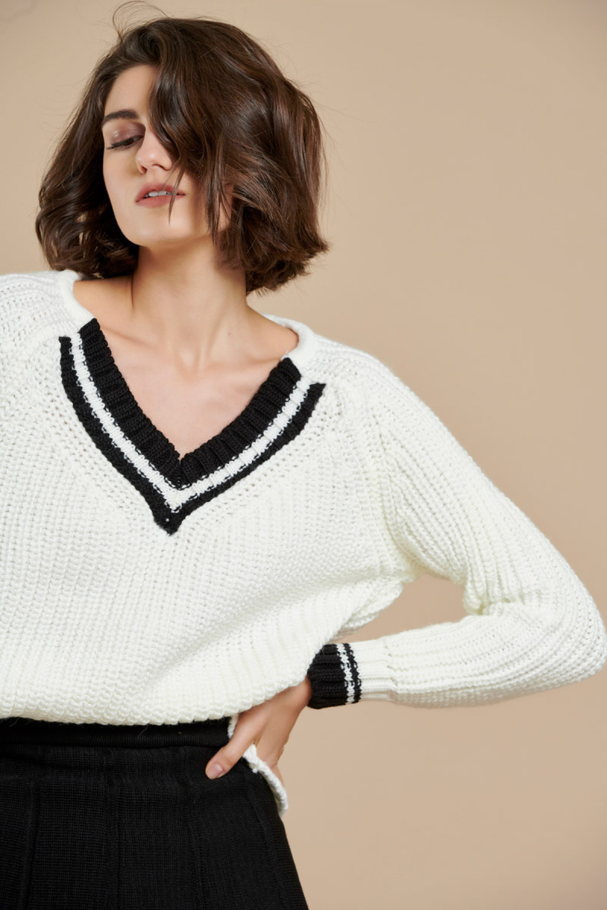 COLOUR BLOCK COLLEGE CHUNKY SWEATER OFF WHITE