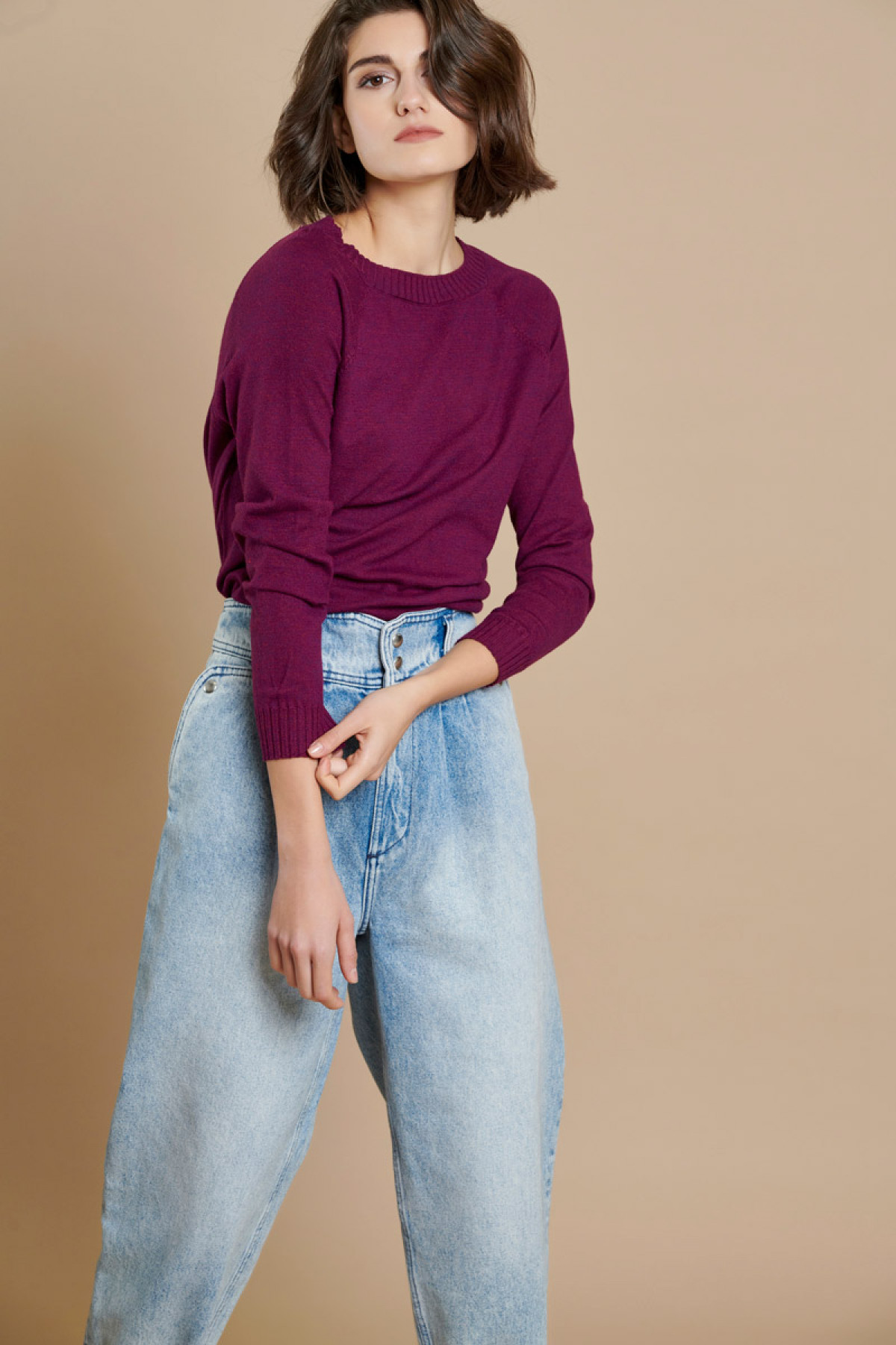PURPLE BASIC ROUND NECK KNIT SWEATER