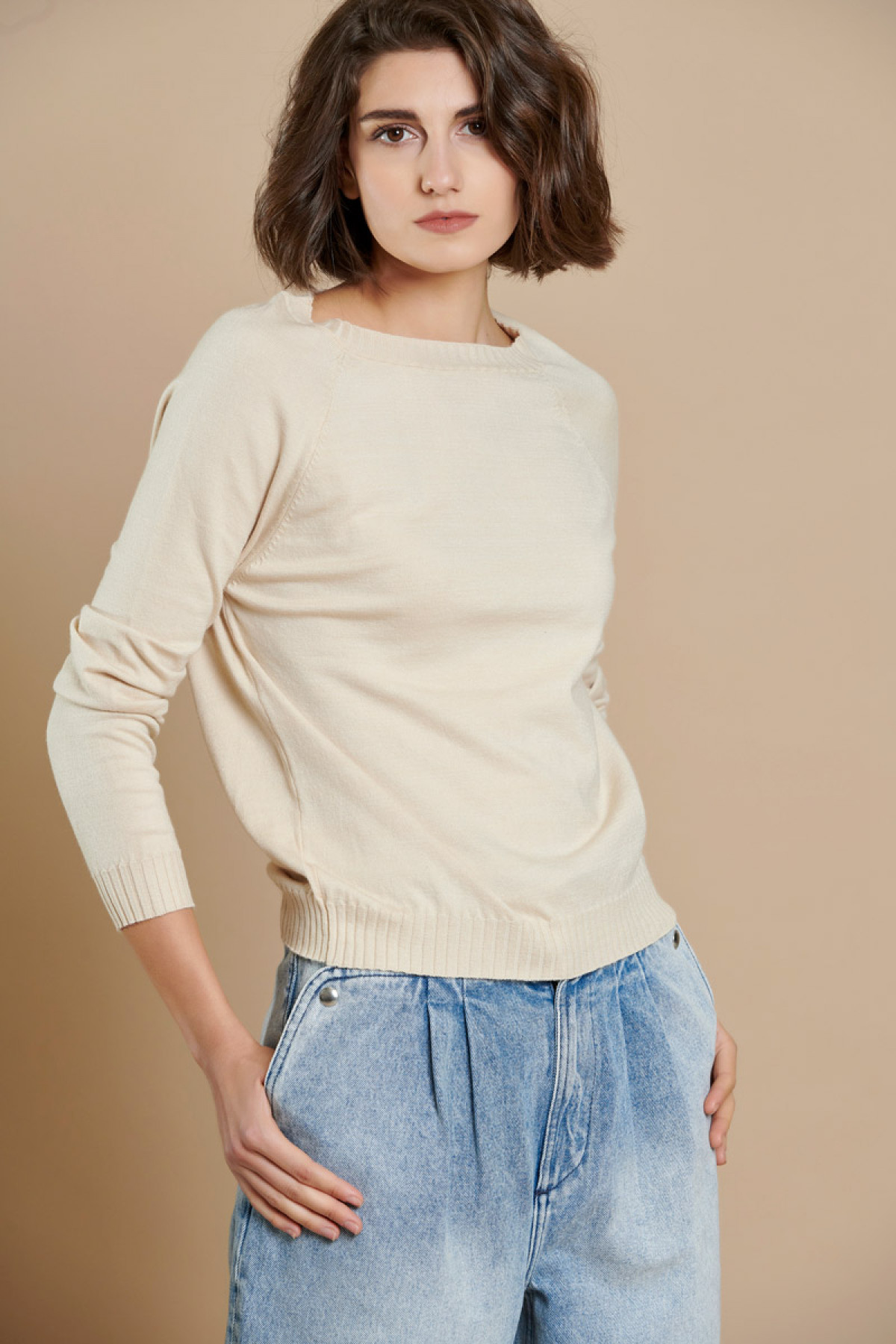 VANILLA BASIC ROUND NECK KNIT SWEATER