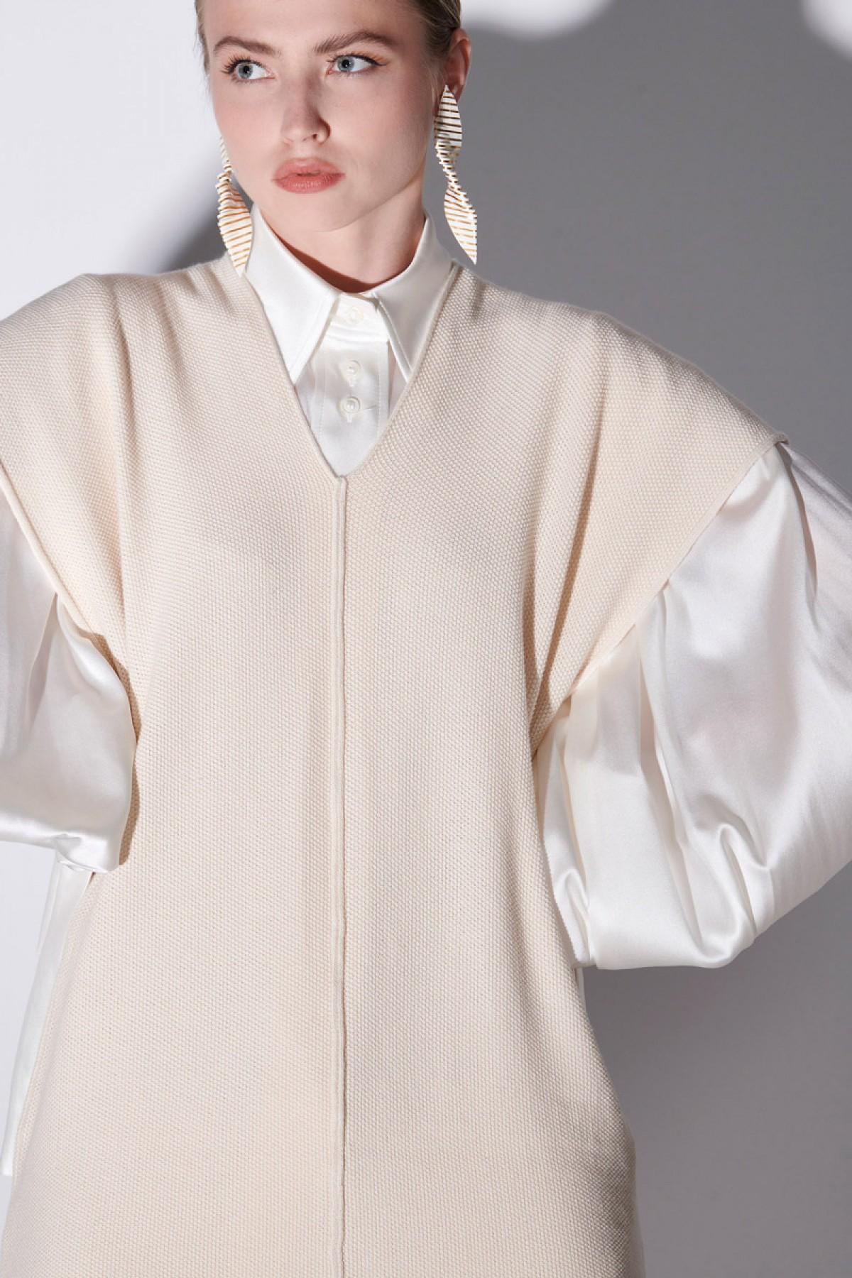LONG KNIT PIQUE DRESS