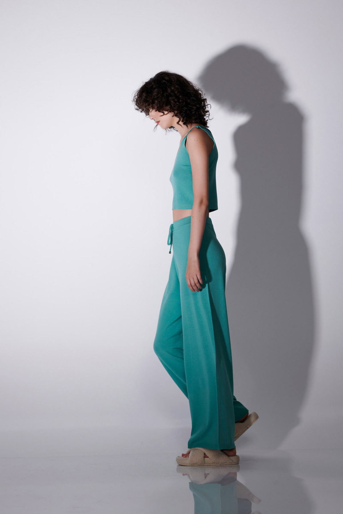 VISCOSE KNIT TROUSERS IN MINT