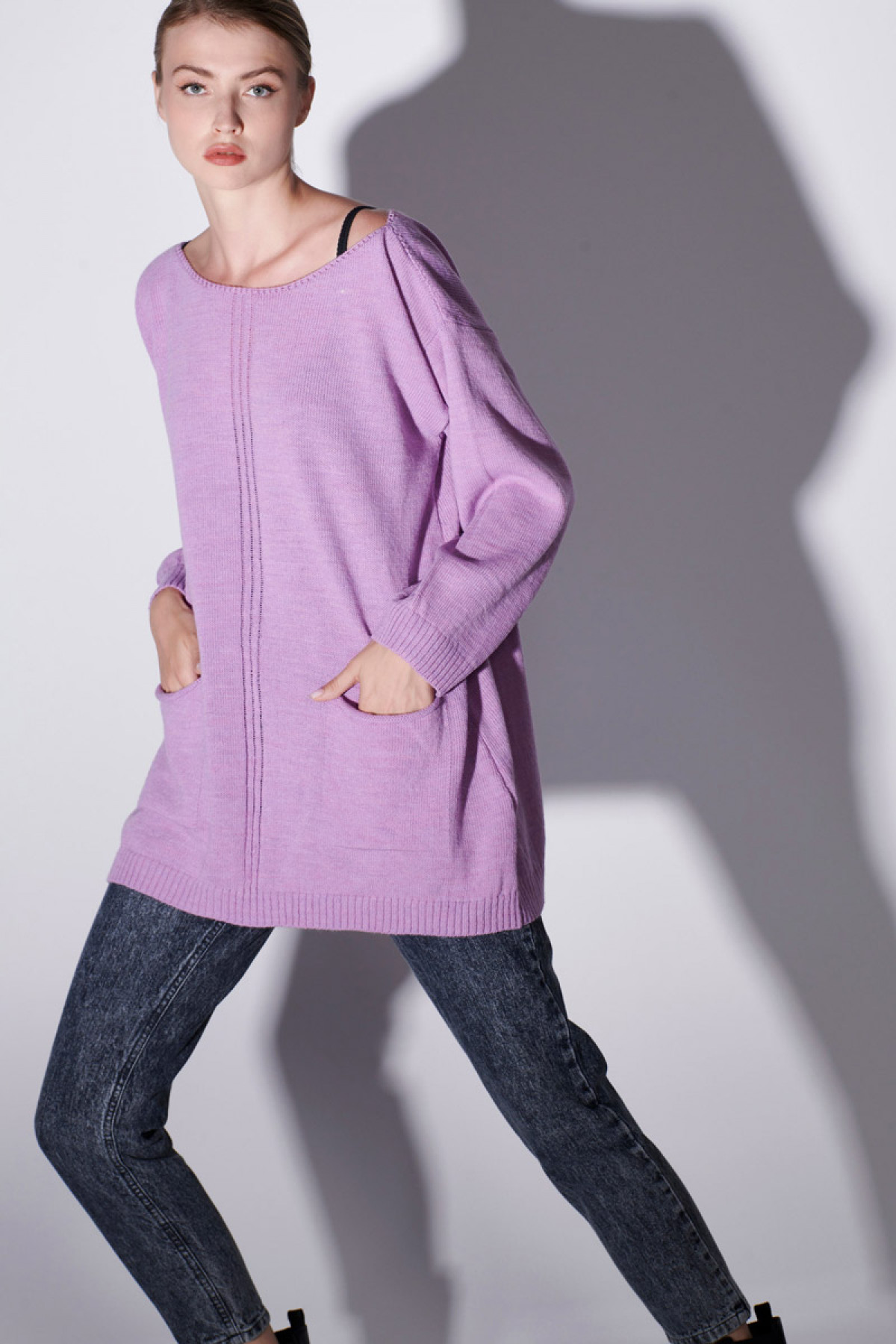 WOOL SWEATER WITH POCKETS IN LAVENDER