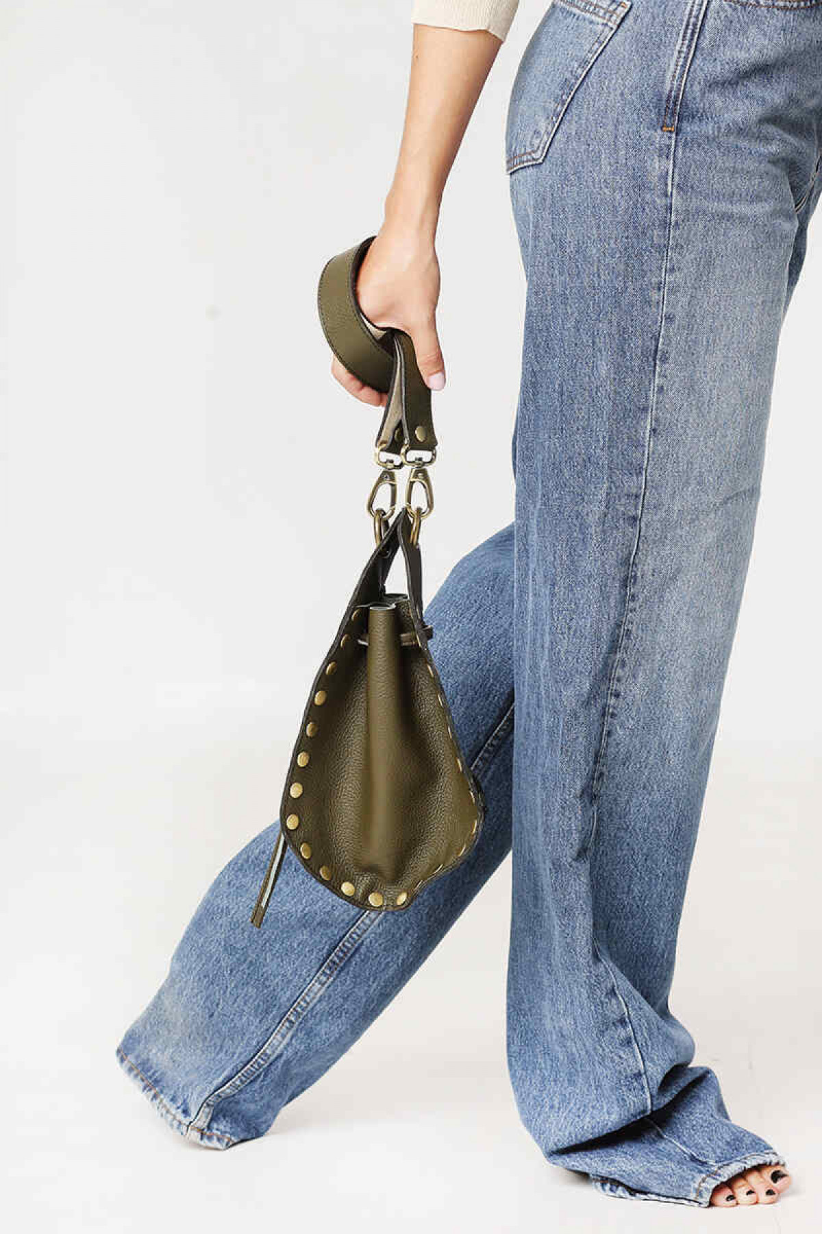 OLIVE GREEN LEATHER CROSS BODY BAG