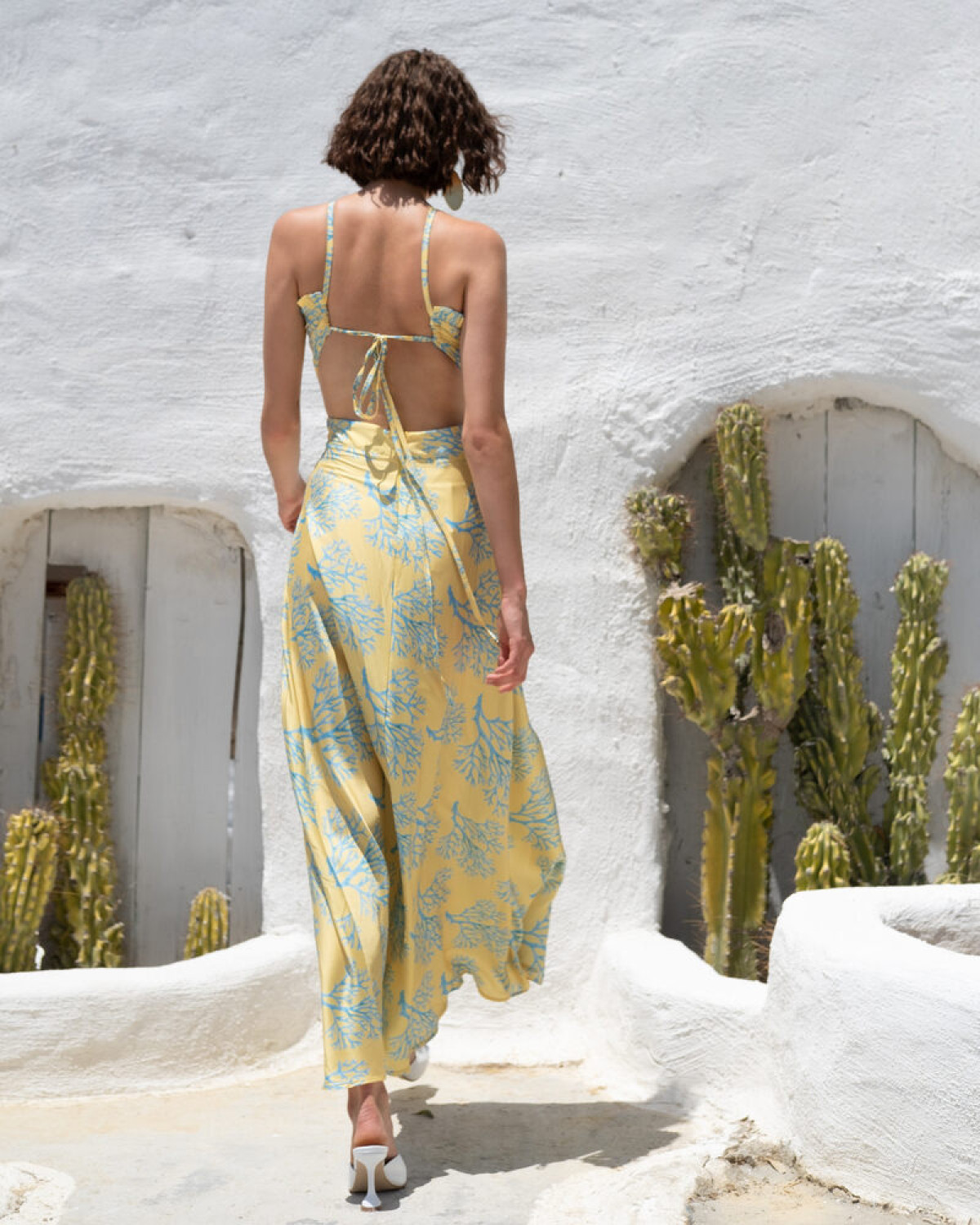 YELLOW OPEN BACK SATIN DRESS WITH CORALS
