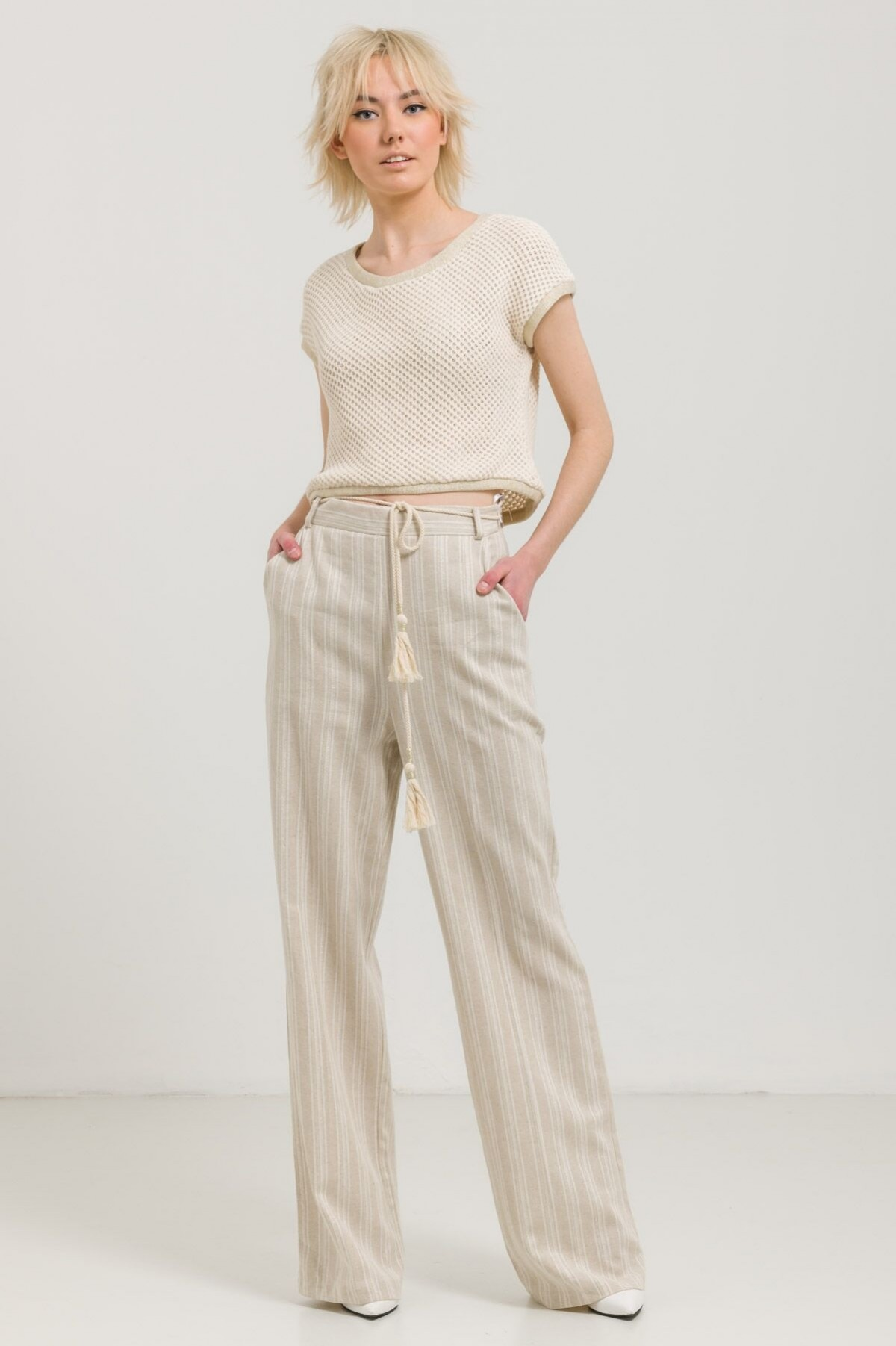 STRIPED LINEN WIDE-LEG TROUSERS
