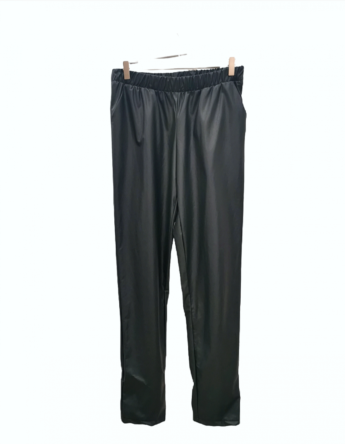 OLIVE GREEN ECO LEATHER TROUSERS