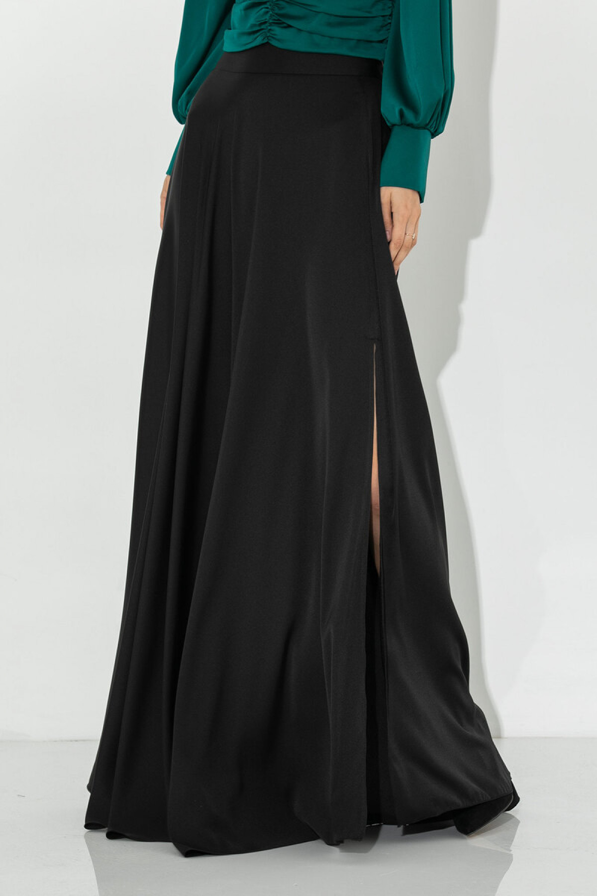 BLACK SATIN MAXI SKIRT