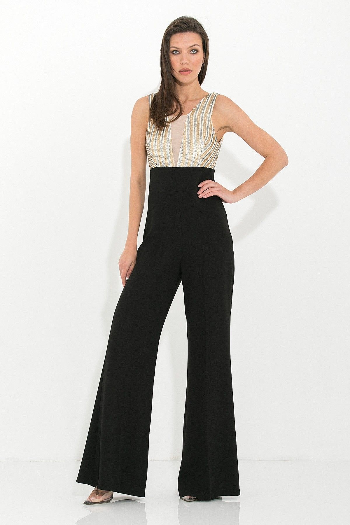 BLACK JUMPSUIT WITH SEQUINS