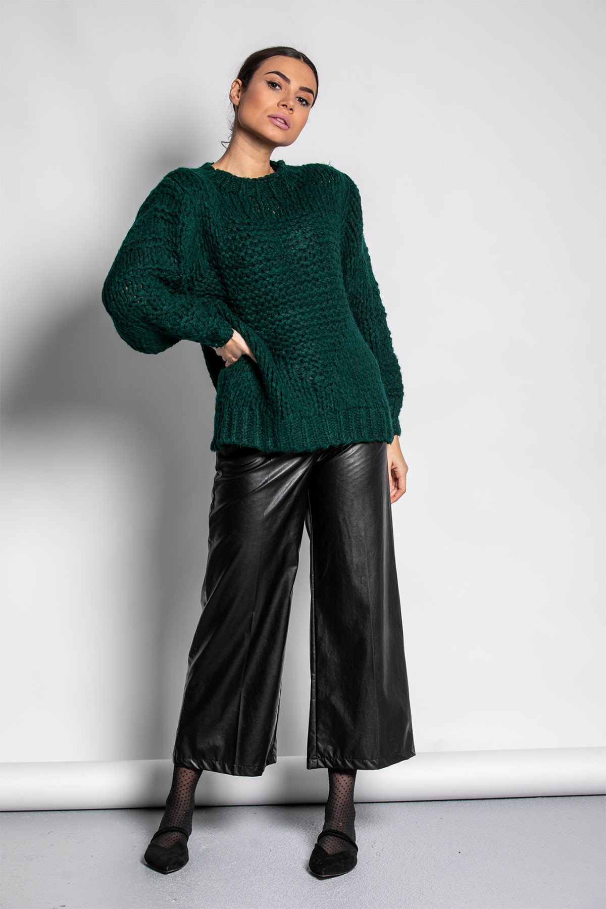 GREEN CHUNKY KNITTED BLOUSE