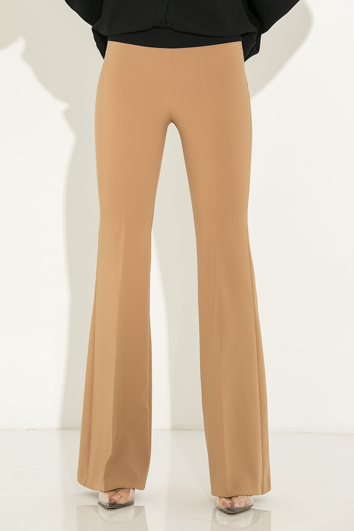 BEIGE HIGH WAISTED FLARED PANTS
