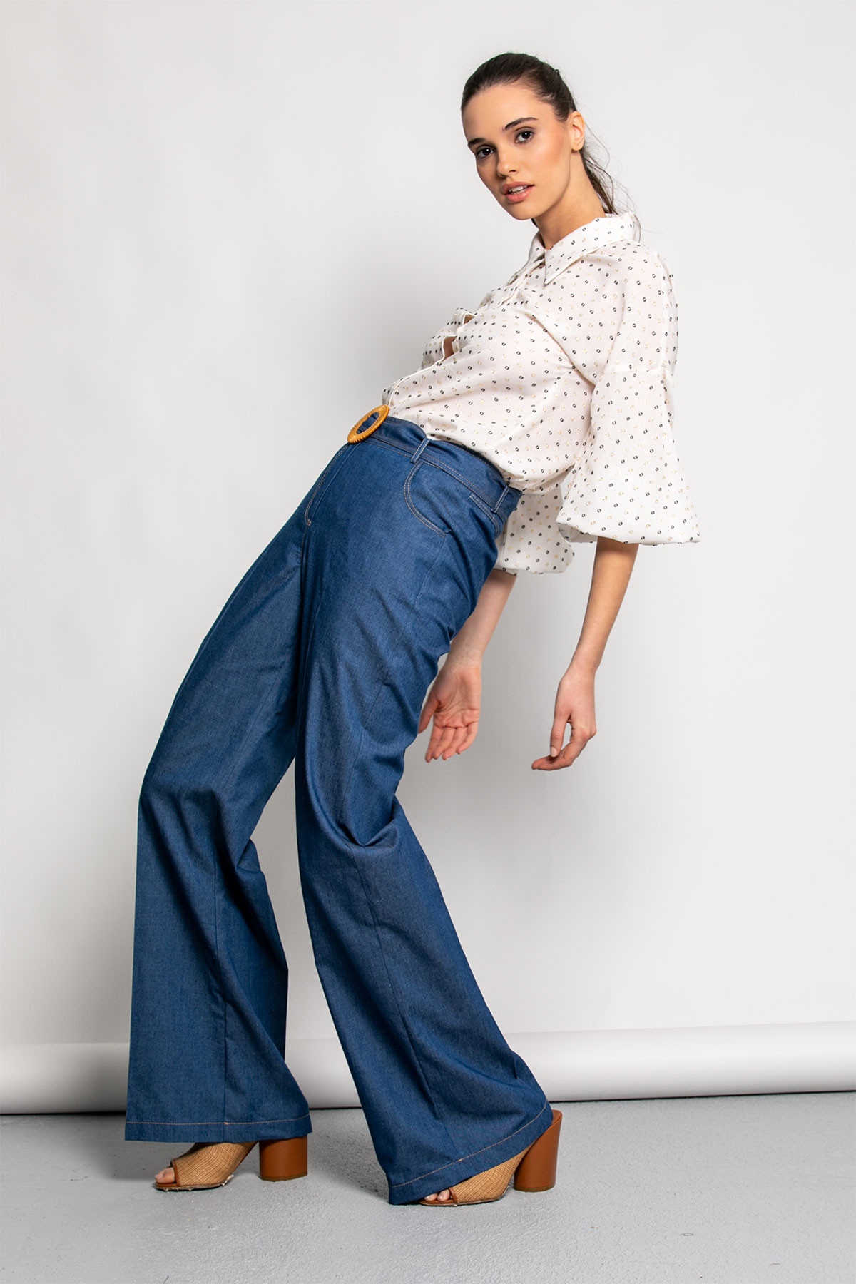 BLUE DENIM WIDE LEG TROUSERS