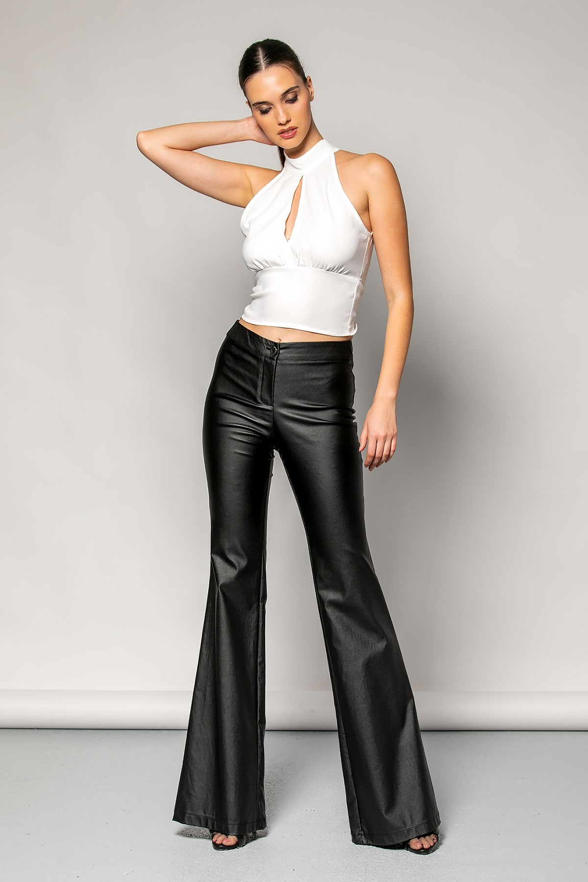 BLACK HIGH WAIST LEATHER TROUSERS