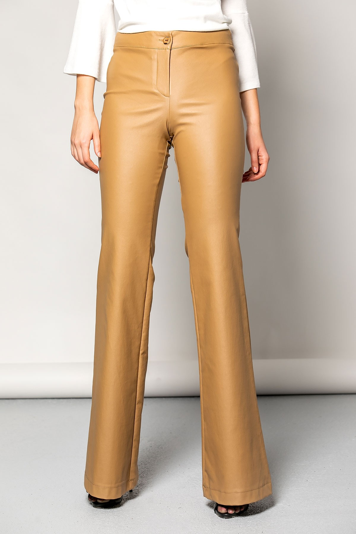 BEIGE HIGH WAIST LEATHER TROUSERS