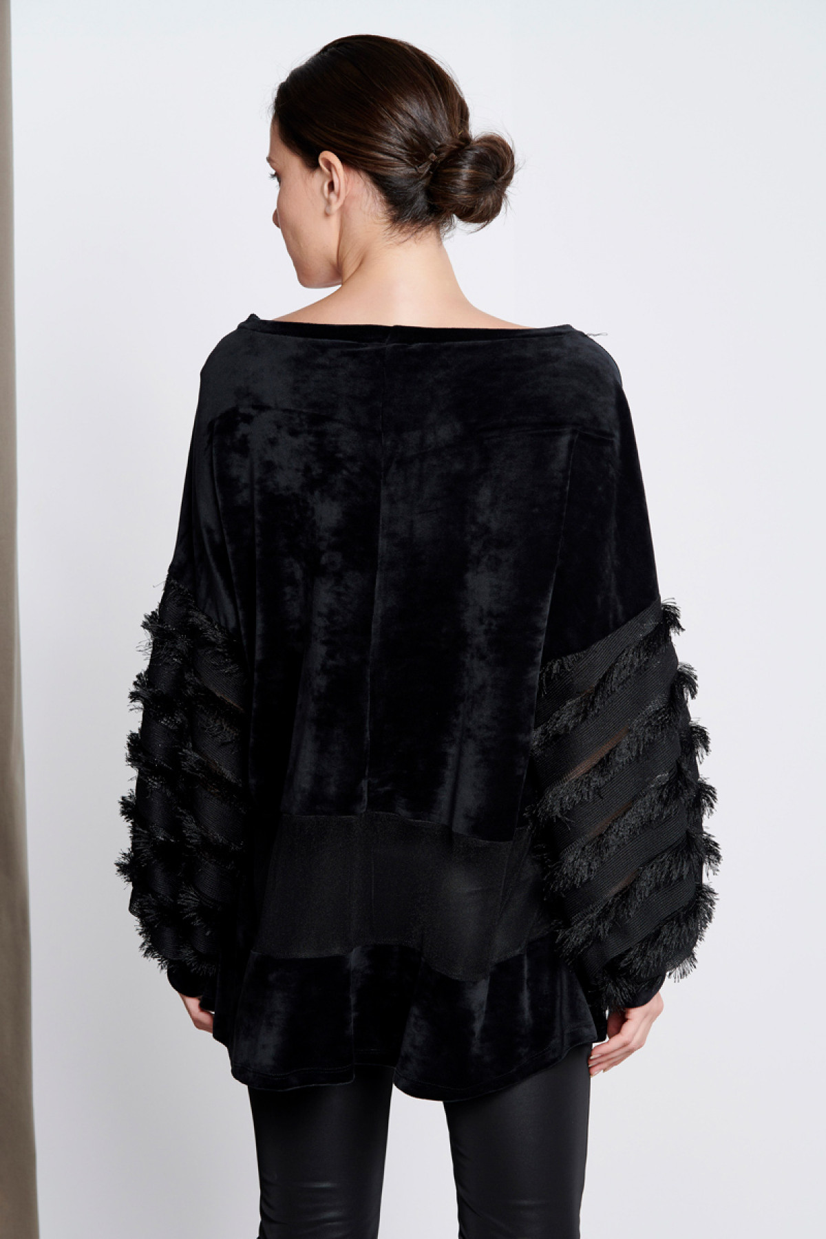 BLACK VELVET TOP WITH FRINGED SLEEVES