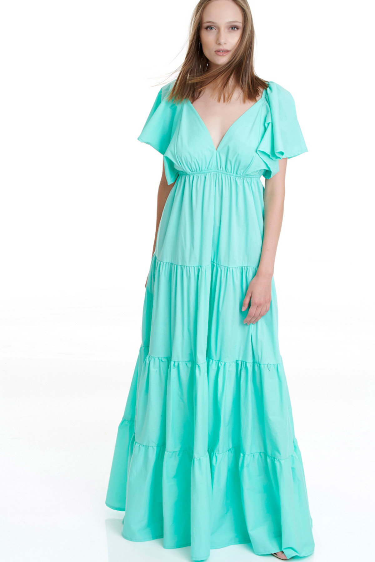 TURQUOISE LONG POPLIN DRESS