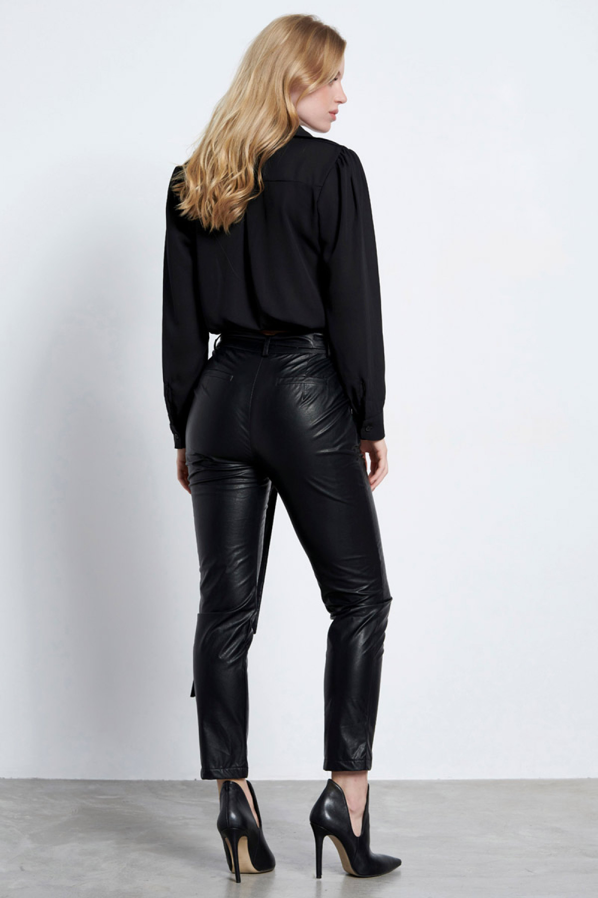 ECO LEATHER TROUSERS BLACK