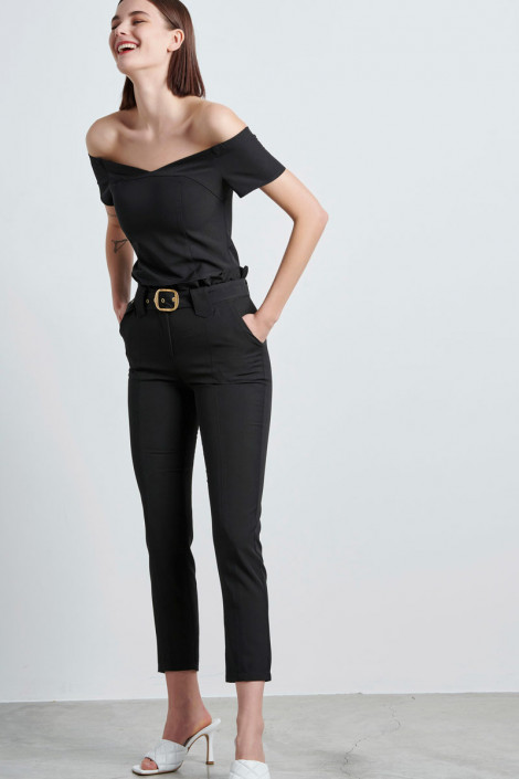 HIGH WAIST PAPERBAG TROUSERS IN BLACK