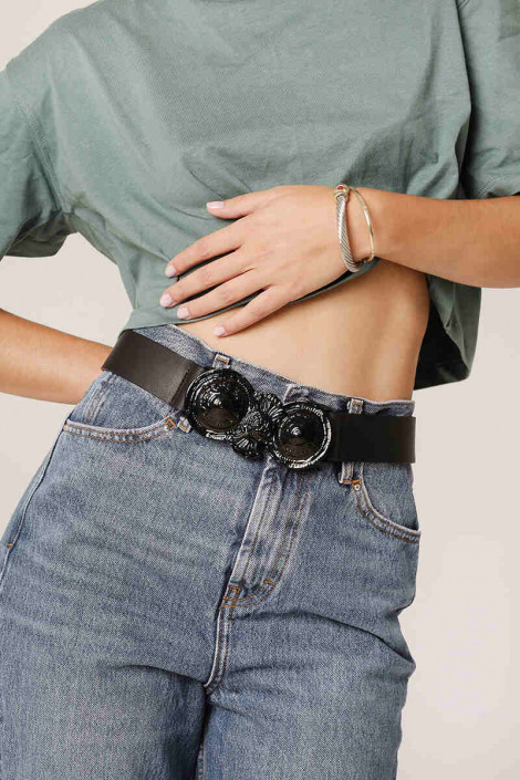 LEATHER BELT WITH NICKEL BUCKLE LEATHER TWIST